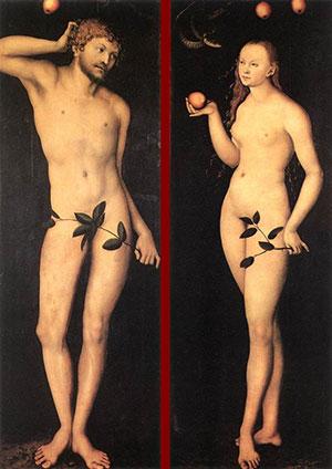 Адам и Ева. Лукас Кранах Старший. защита от порчи, снятие порчи